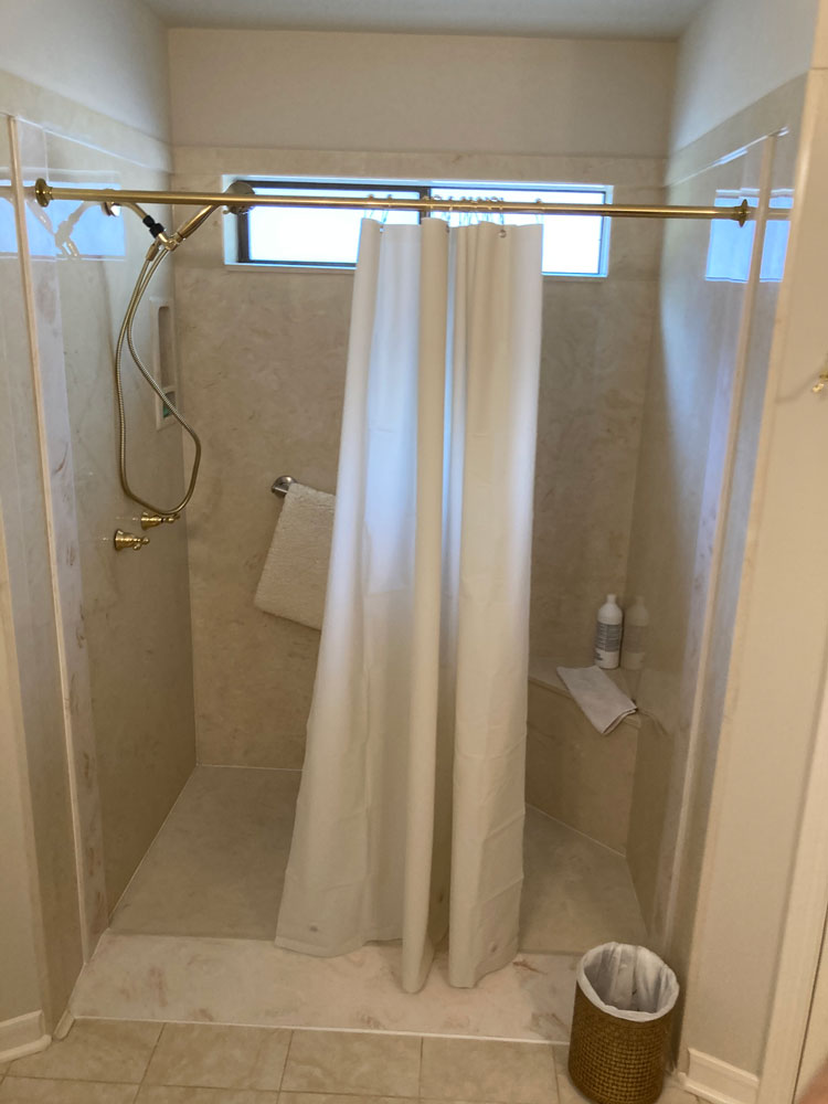 New Shower With Modified Ramp and Raised Furrdown