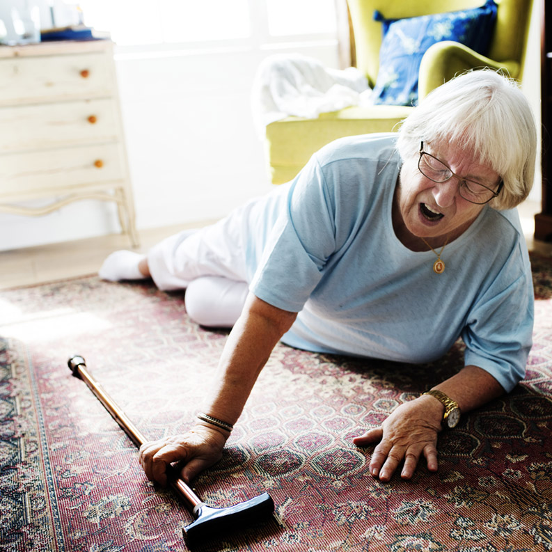 Older adult falls on the floor